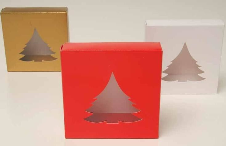 PVC Clear Window Paper Christmas Packaging Boxes Disposable Paper Material